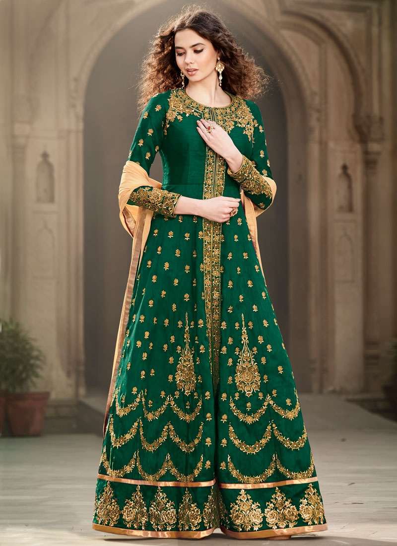 Classical Banglori Silk Long Length Wedding Salwar Kameez