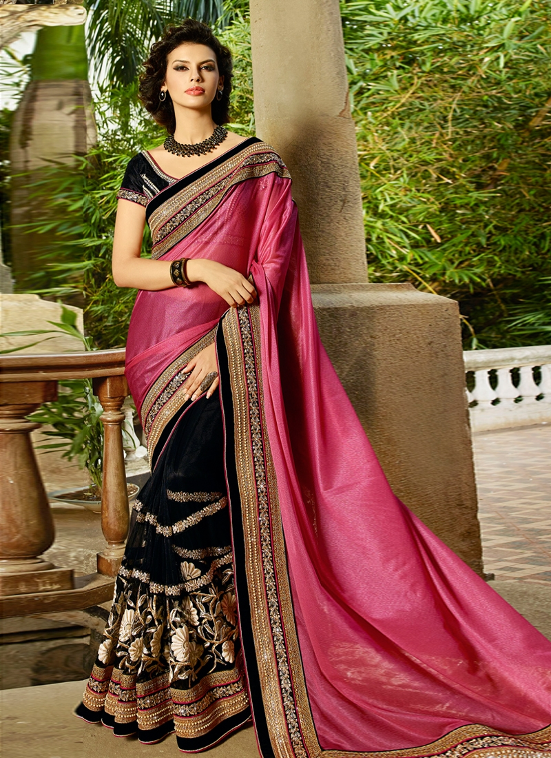 Classical Black Color Net Half N Half Designer Saree