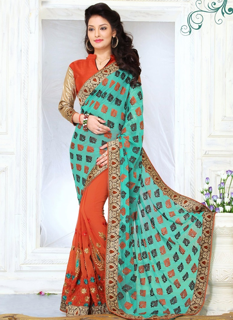 Classical Booti And Resham Work Half N Half Party Wear Saree