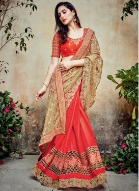 Classical Chiffon Satin Beige and Tomato Half N Half Designer Saree