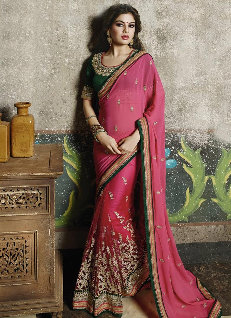 Classical Embroidery Work Half N Half Wedding Saree