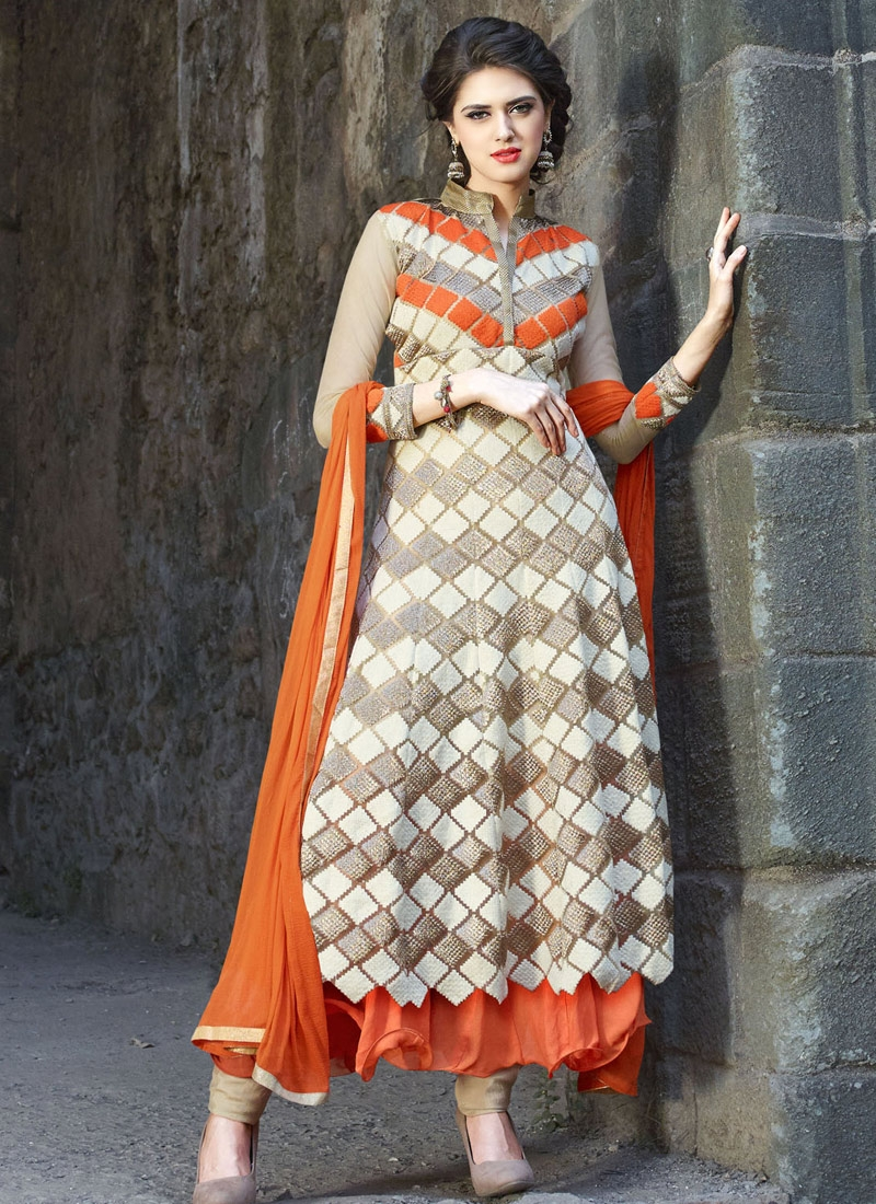 Classical Embroidery Work Net Layered Designer Salwar Suit