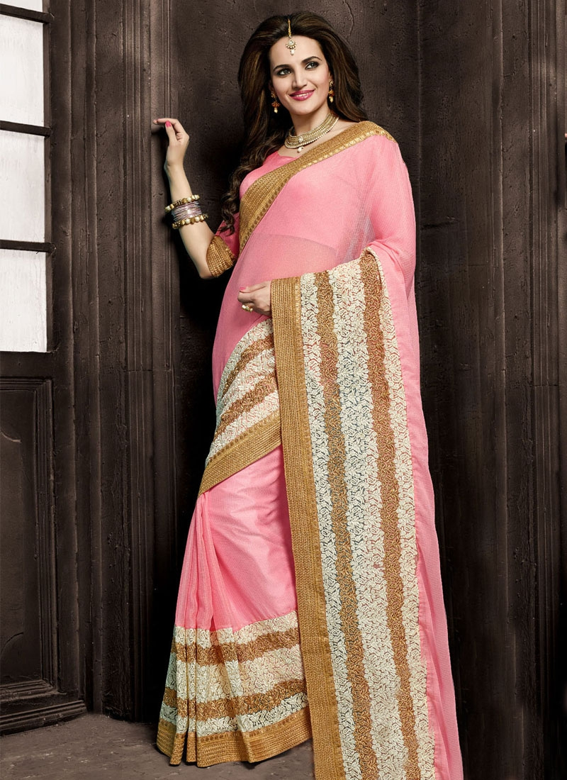Classical Embroidery Work Pink Color Designer Saree