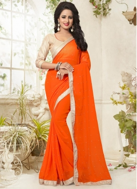 Classical Faux Georgette Beads Work Trendy Classic Saree