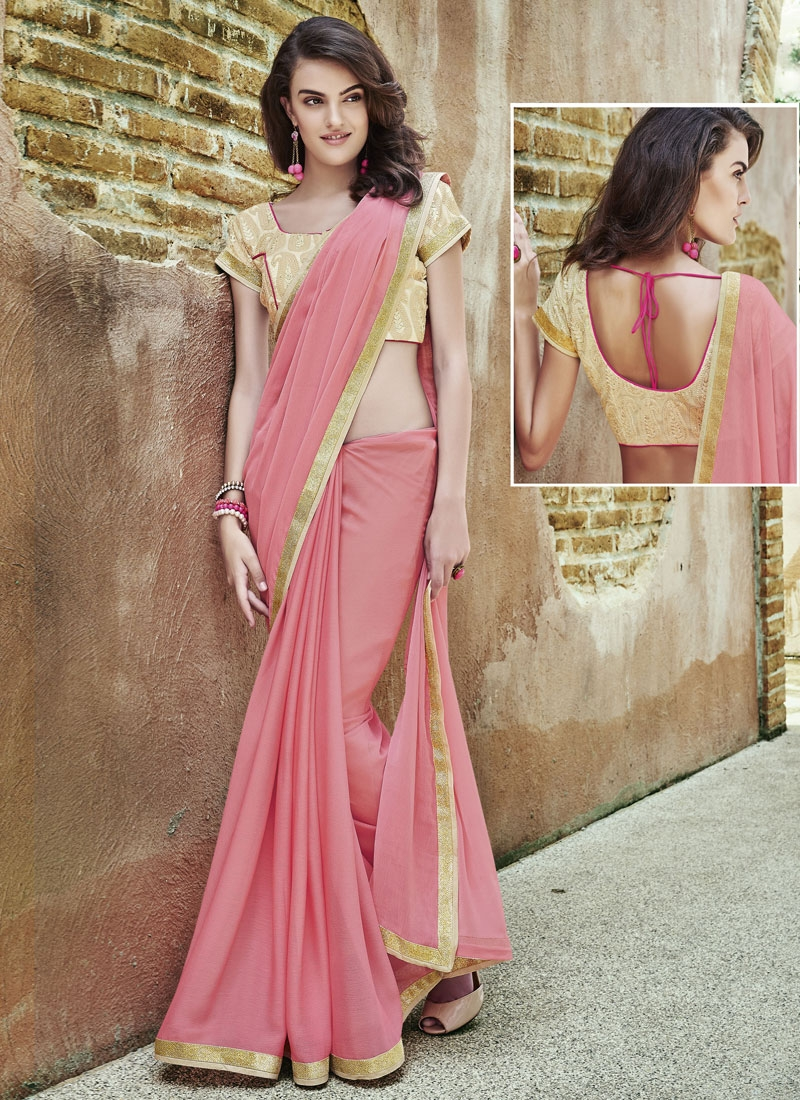 Classical Faux Georgette Resham Work Party Wear Saree