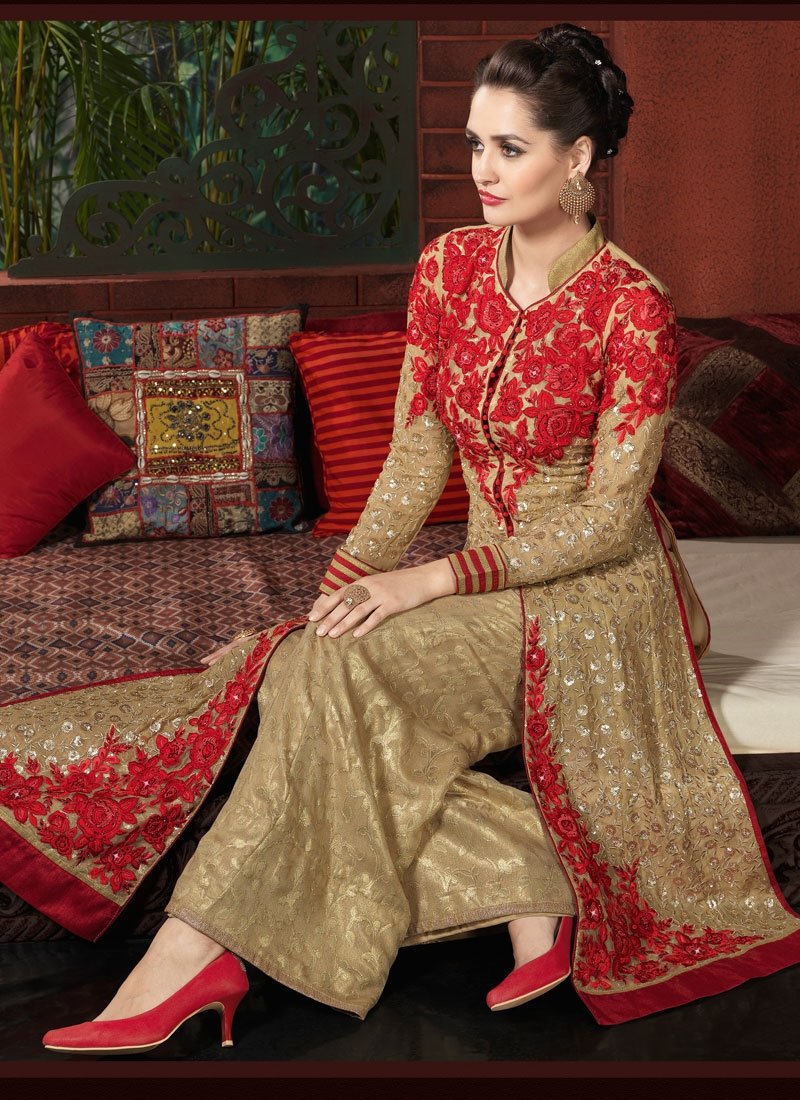 Classical Floral And Sequins Work Palazzo Style Designer Salwar Suit