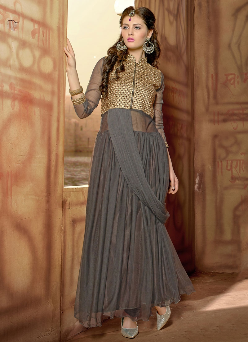 Classical Grey Color Party Wear Readymade Gown