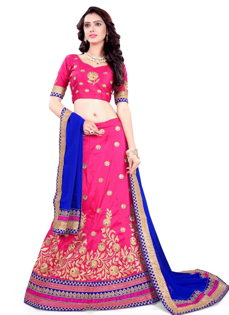 Classical Hot Pink Color Resham Work Designer Lehenga Choli