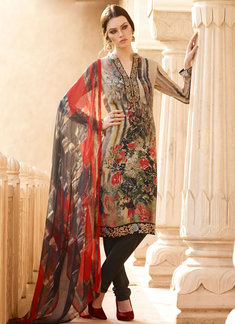 Classical Lace And Stone Work Churidar Salwar Suit