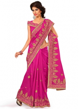Classical Lace Work Chanderi Silk Party Wear Saree