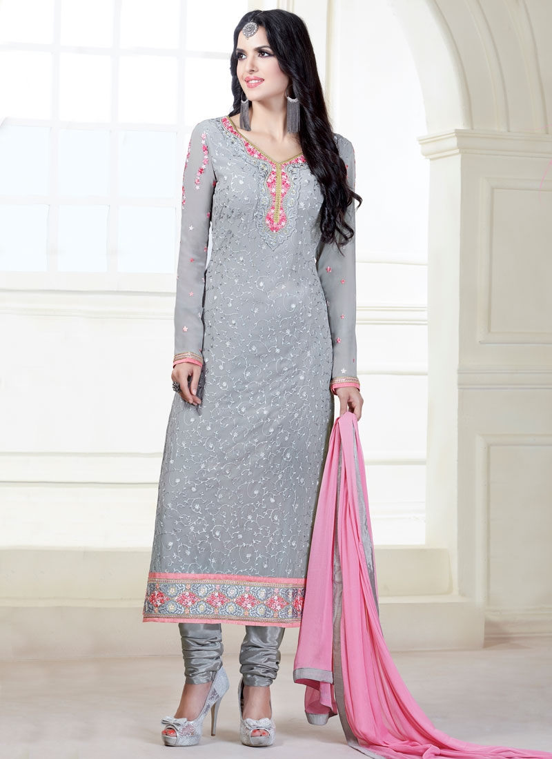 e3558e8318 Classical Lace Work Grey Color Pakistani Salwar Kameez