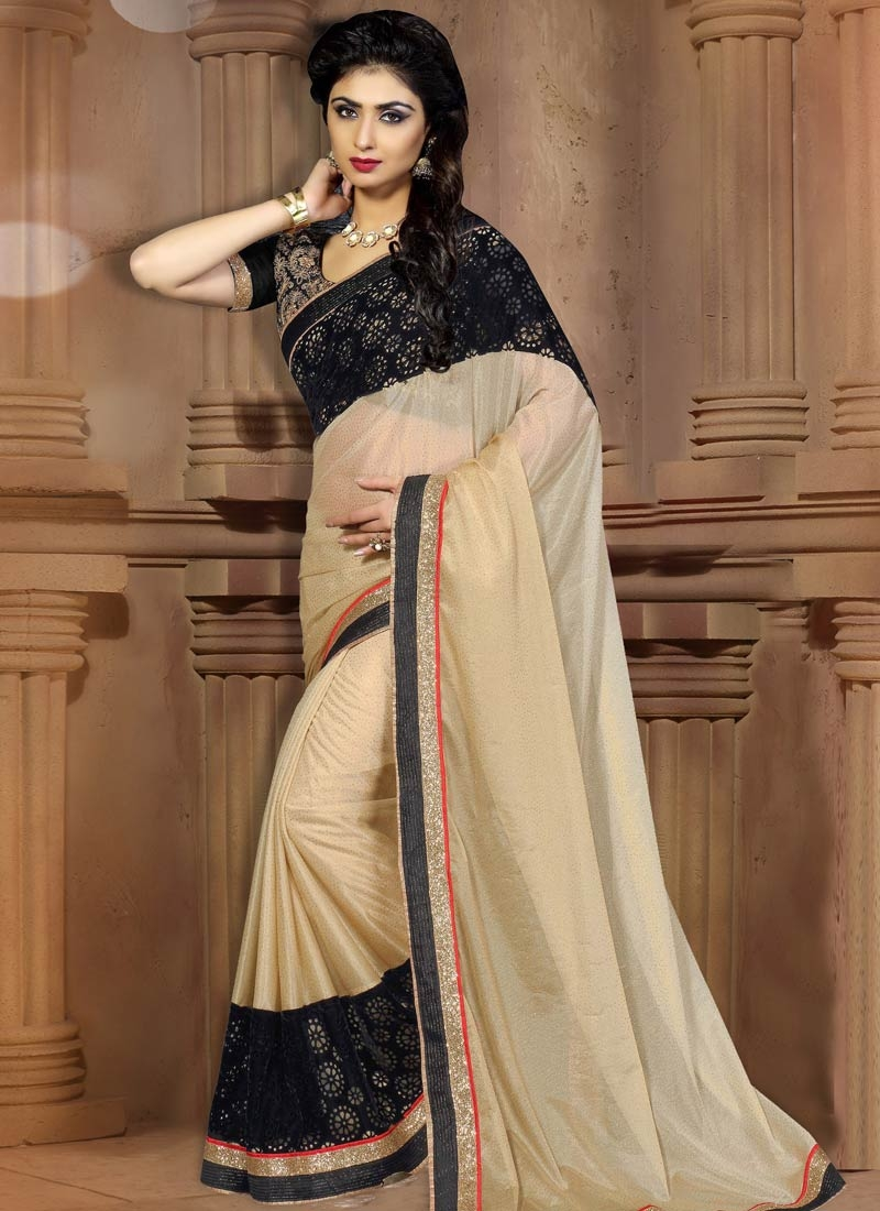 Classical Lycra Beige Color Party Wear Saree