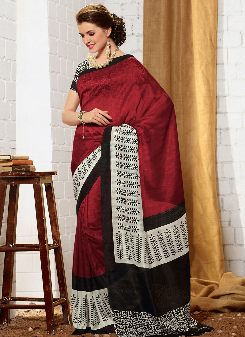 Classical Maroon Color Casual Saree