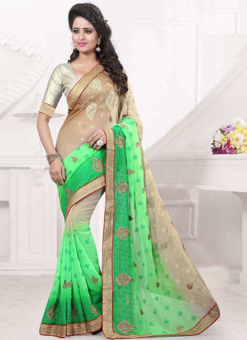 Classical Mint Green Color Booti Work Designer Saree