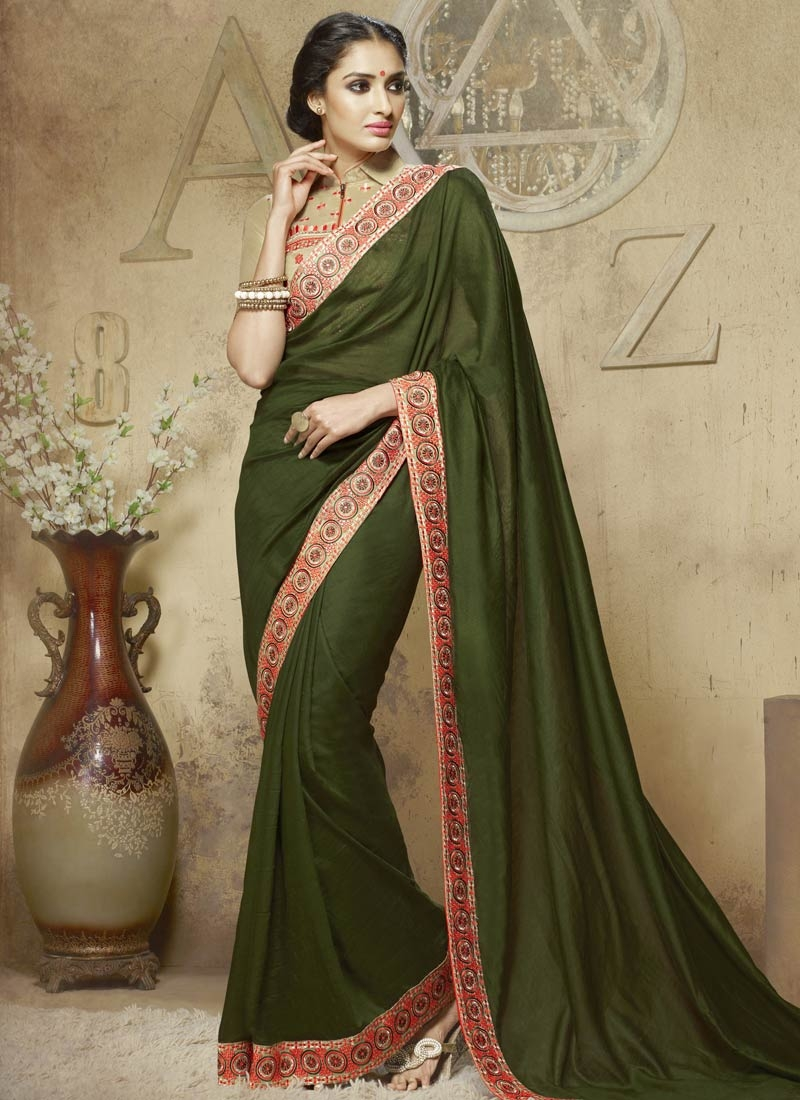 Classical Olive Color Viscose Party Wear Saree