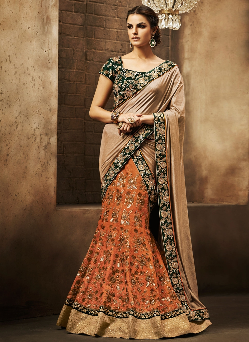 Classical Orange Color Raw Silk Wedding Lehenga Saree