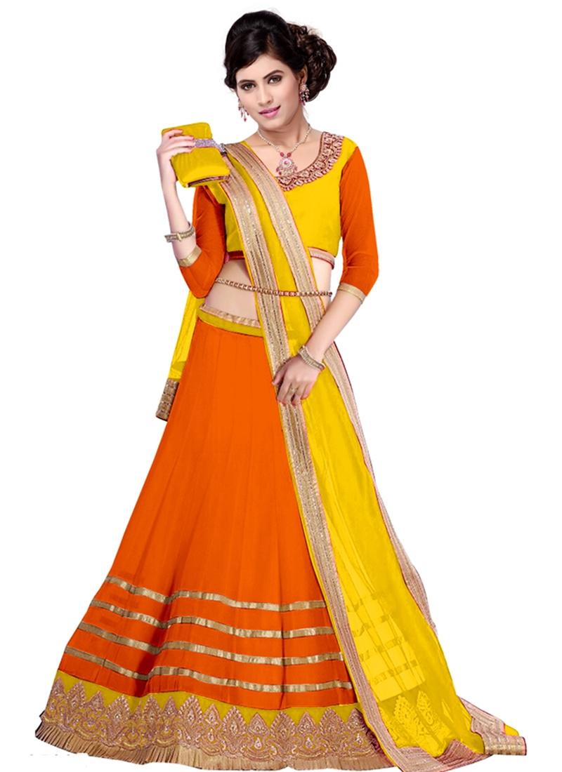Classical Orange Color Resham Work Party Wear Lehenga Choli