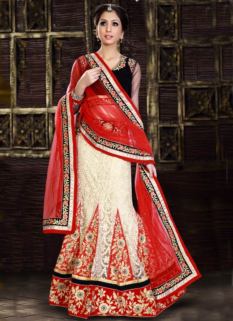 Classical Patch Border Work Net Wedding Lehenga Choli