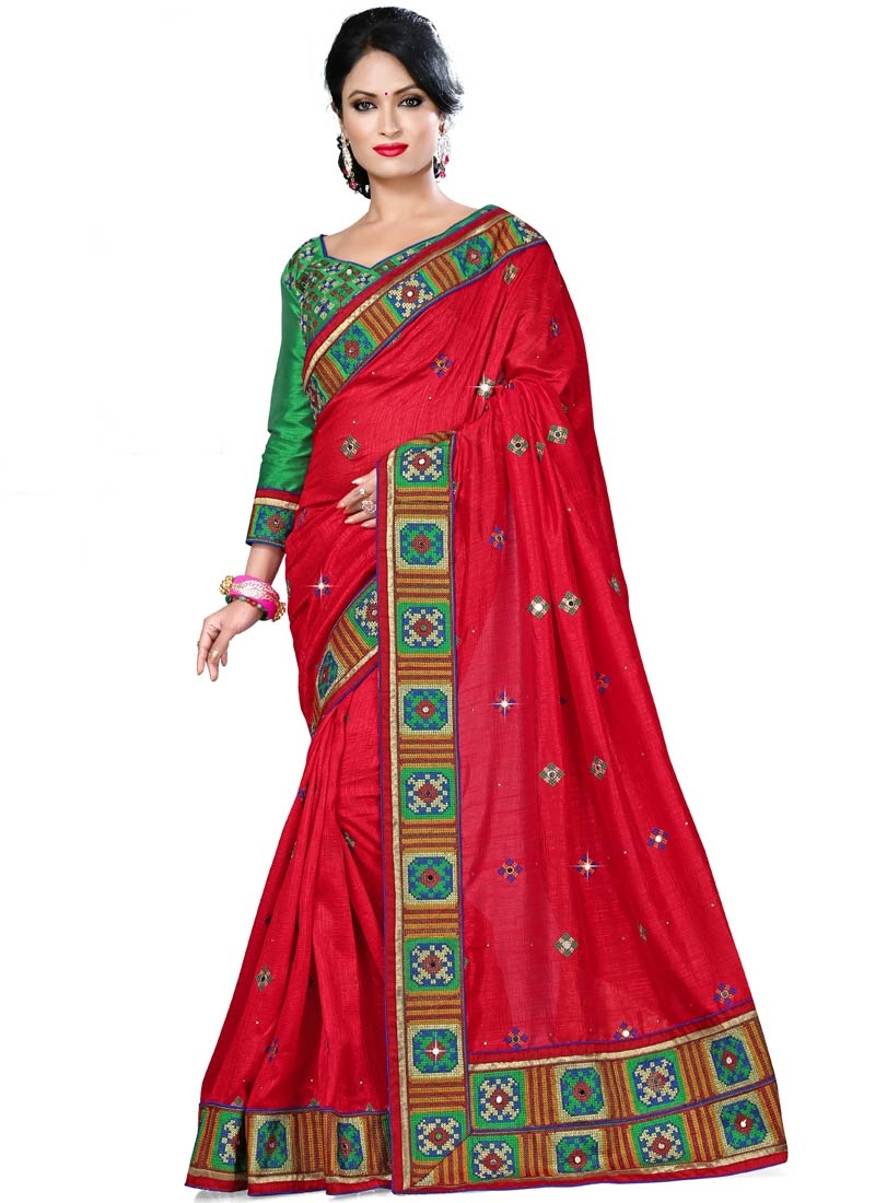 Classical Patch Border Work Silk Party Wear Saree