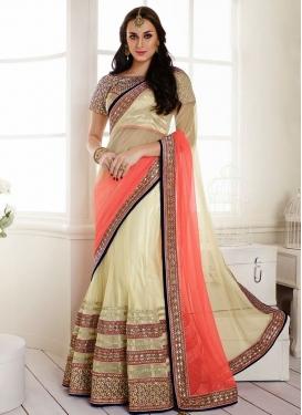 Classical Patch Work Net And Satin Lehenga Saree