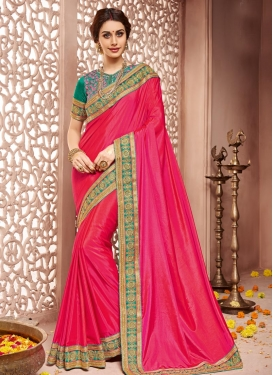 Classical Raw Silk Lace Work Classic Saree