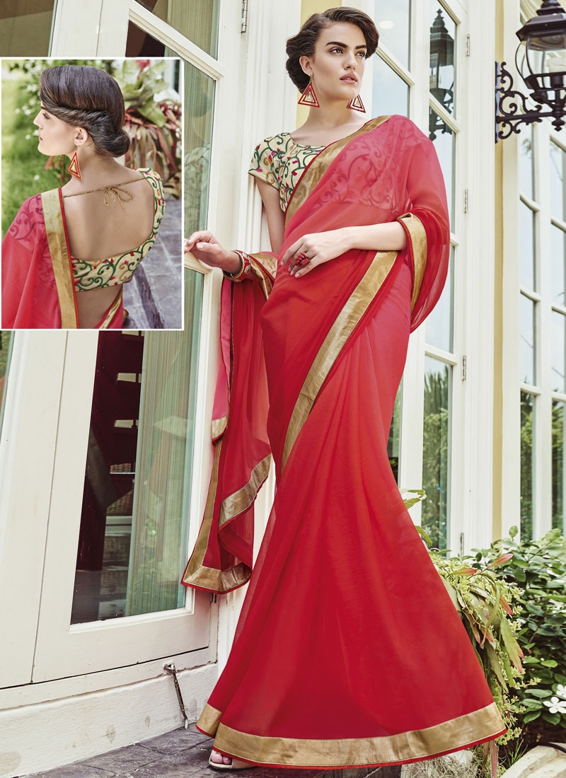 Classical Red Color Faux Chiffon Party Wear Saree