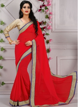 Classical Red Color Resham Work Casual Saree