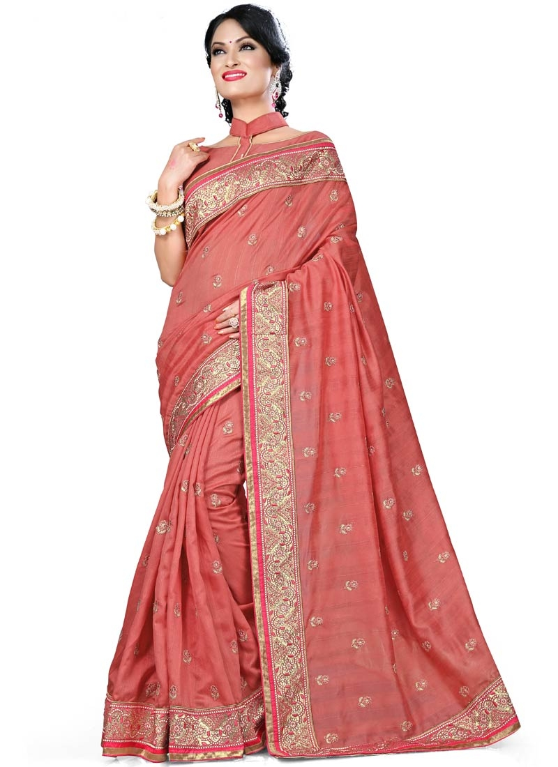 Classical Resham And Stone Work Party Wear Saree
