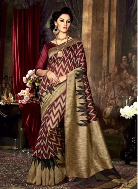 Classical Resham Work Art Raw Silk Beige and Maroon Traditional Saree For Ceremonial