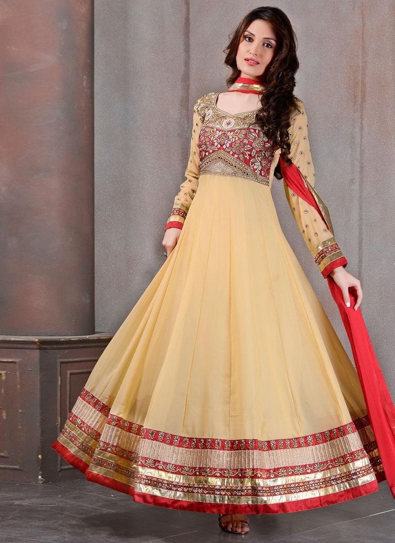 Classical Resham Work Georgette Anarkali Salwar Kameez