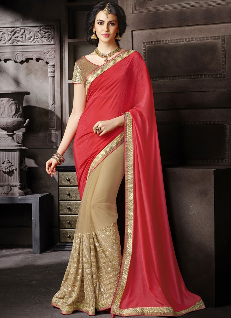 Classical Sequins And Lace Work Half N Half Wedding Saree
