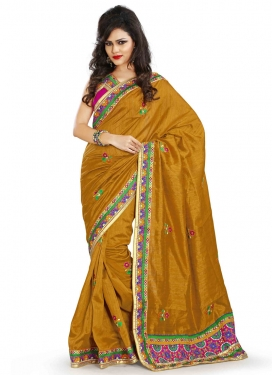 Classical Silk Mustard Color Party Wear Saree