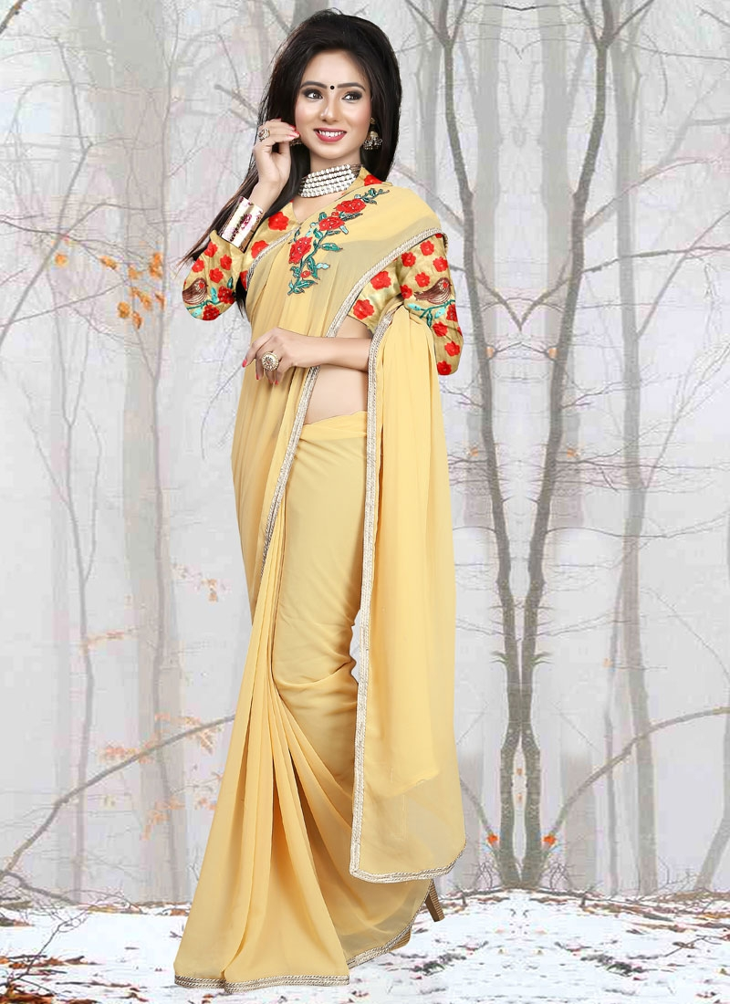 Classical Stone And Lace Work Casual Saree