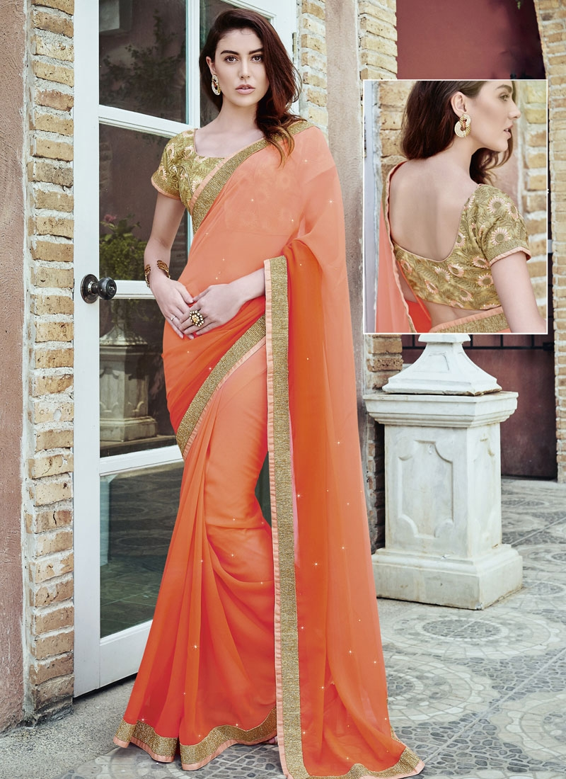 Classical Stone And Lace Work Party Wear Saree