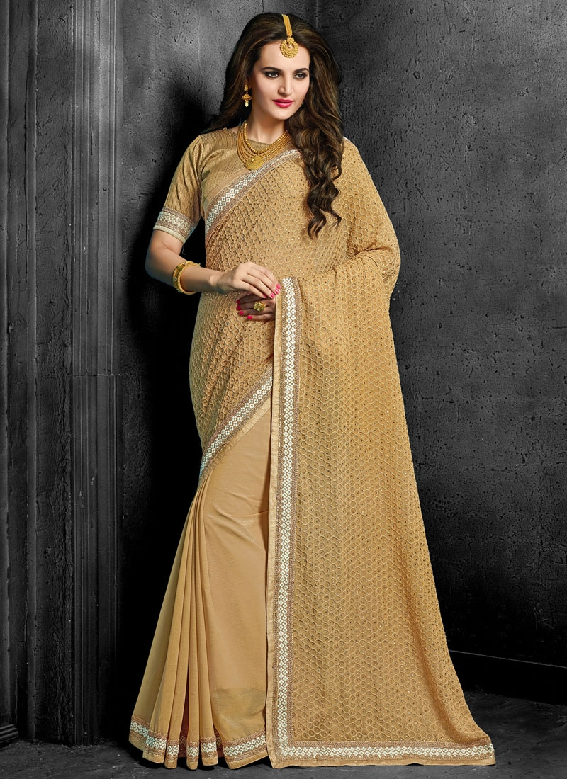 Classical Stone Work Beige Color Designer Saree