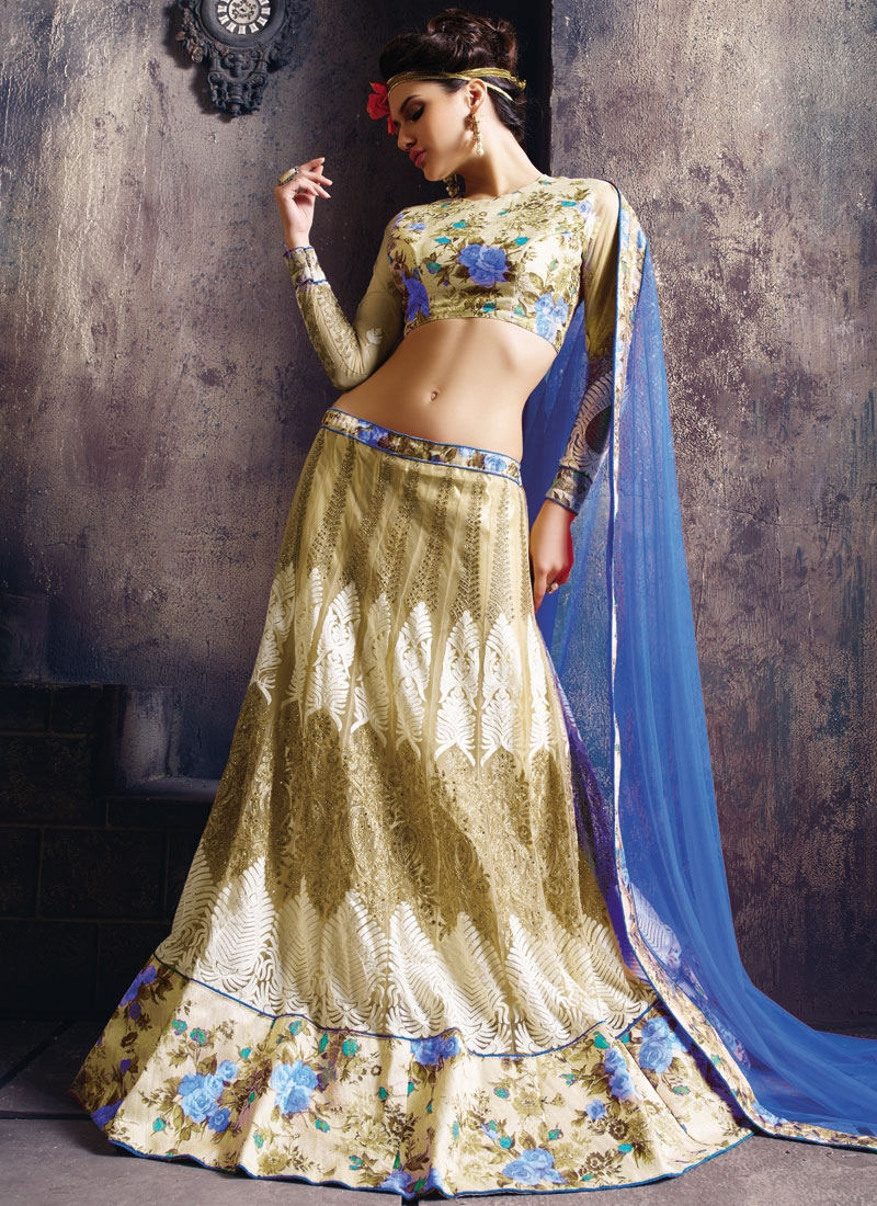 Classical Stone Work Blue Color Designer Lehenga Choli