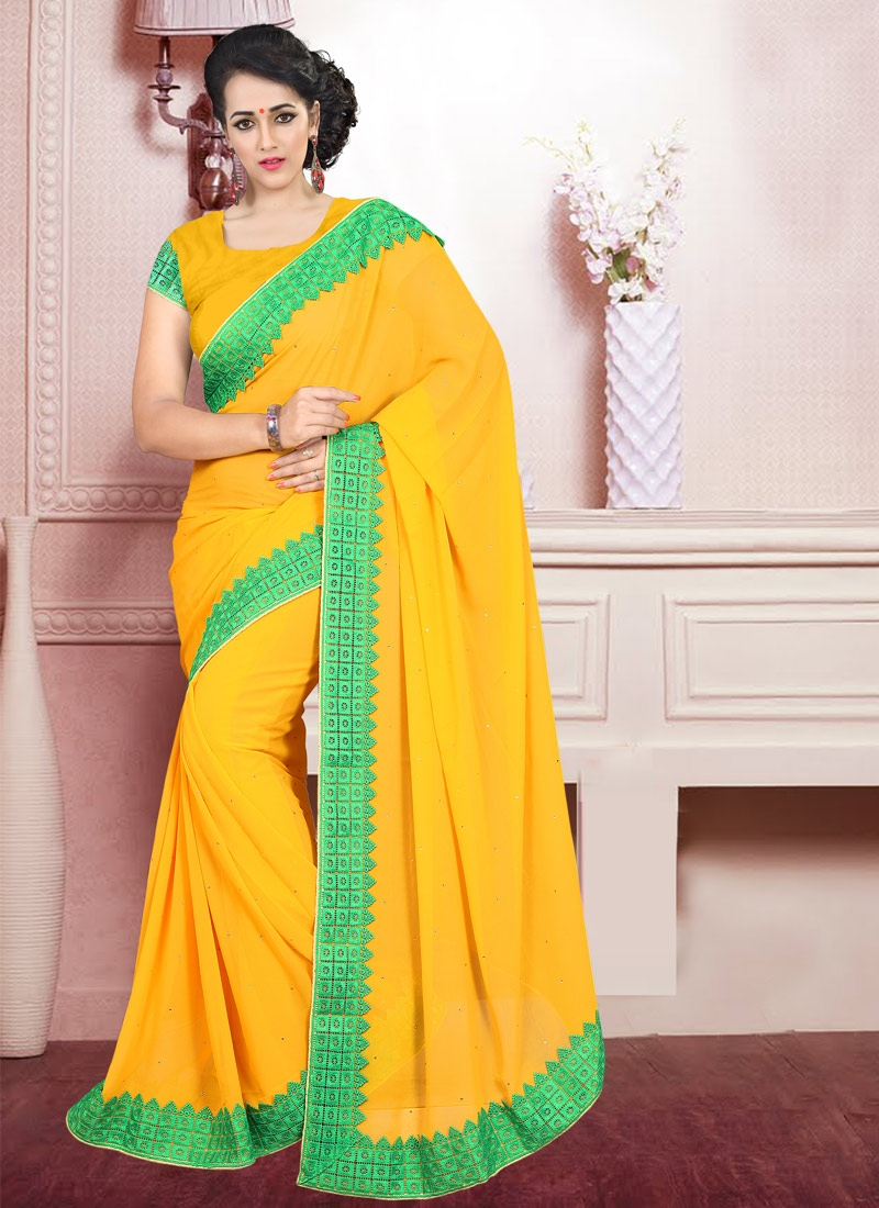 Classical Stone Work Mustard Color Casual Saree