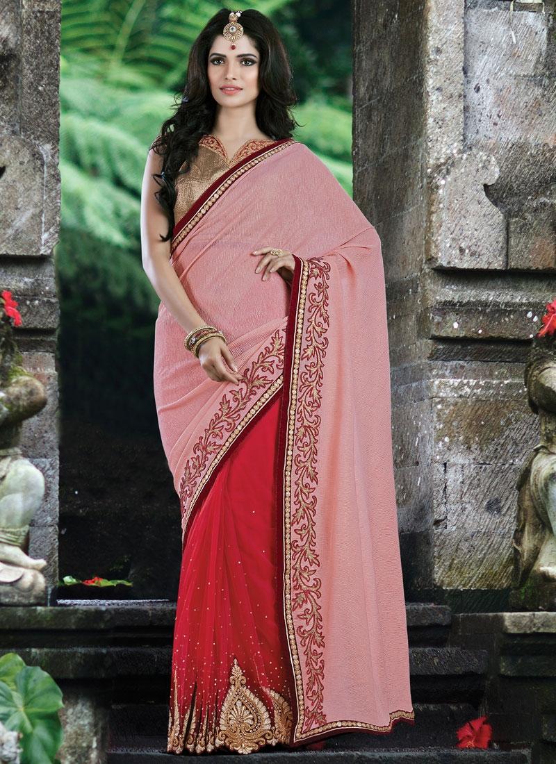 Classical Stone Work Net Half N Half Designer Saree