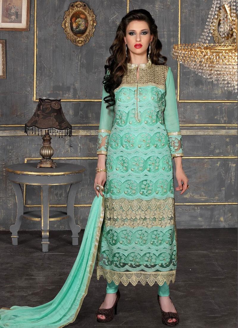 Turquoise Color Pakistani Suit