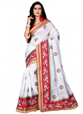 Classical White Color Lace Work Party Wear Saree