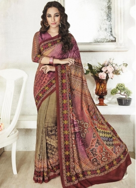 Classy Art Silk Print Work Trendy Saree For Ceremonial