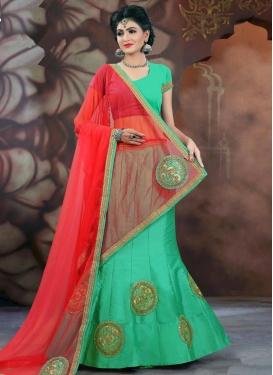 Classy  Bhagalpuri Silk Booti Work Red and Sea Green A Line Lehenga Choli