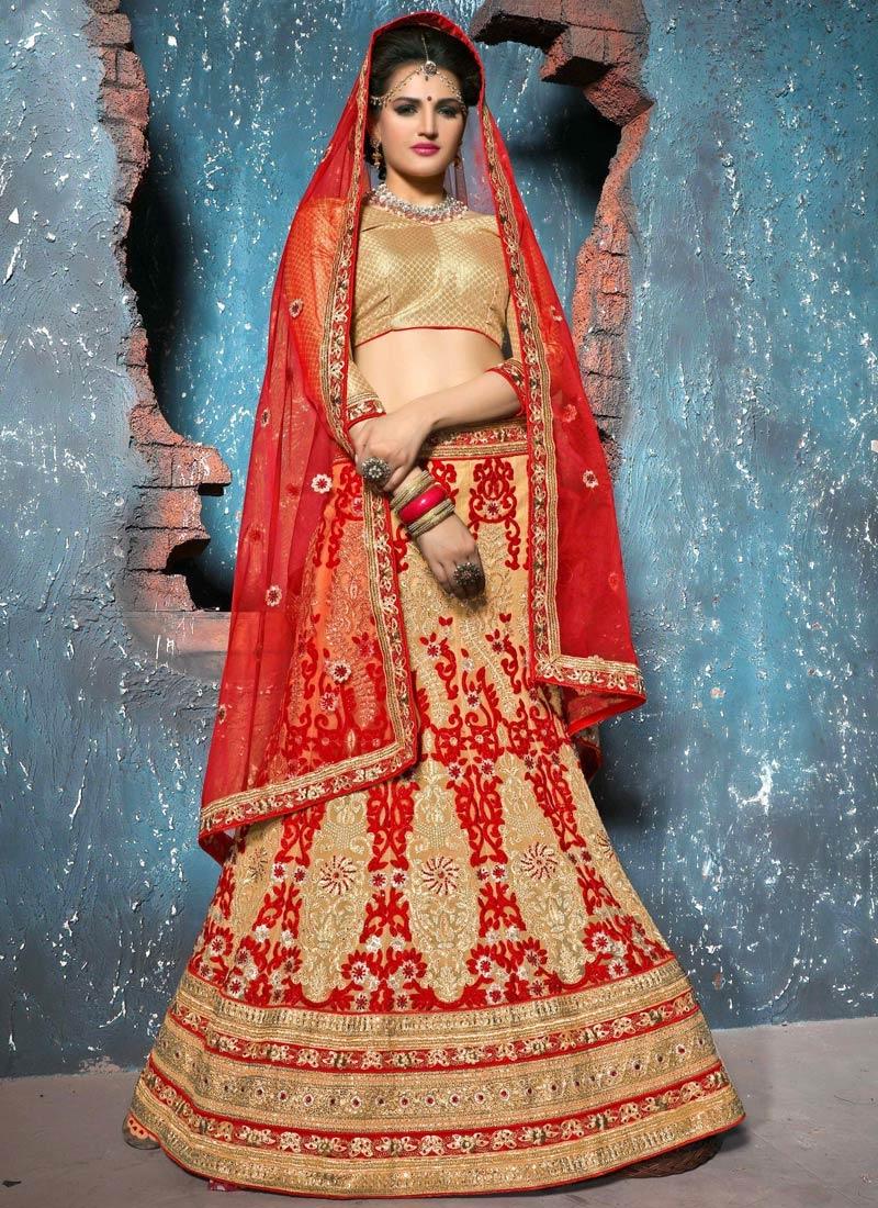 Classy Booti Work Net Bridal Lehenga Choli