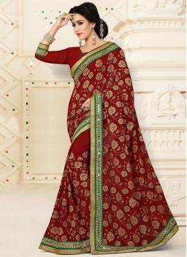Classy Crimson Trendy Designer Saree