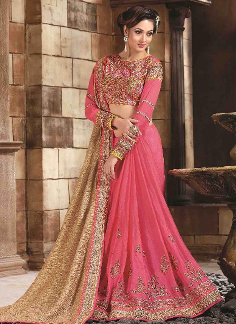 Classy Crush And Silk Half N Half Designer Saree