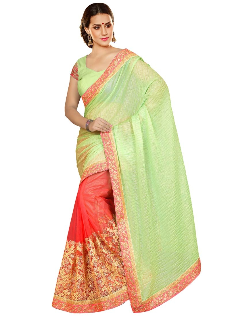 Classy Embroidery Work Crush Half N Half Designer Saree