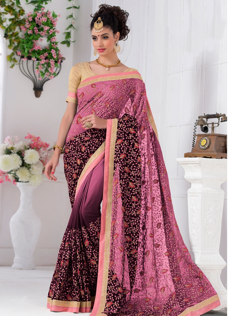 Classy Embroidery Work Party Wear Saree