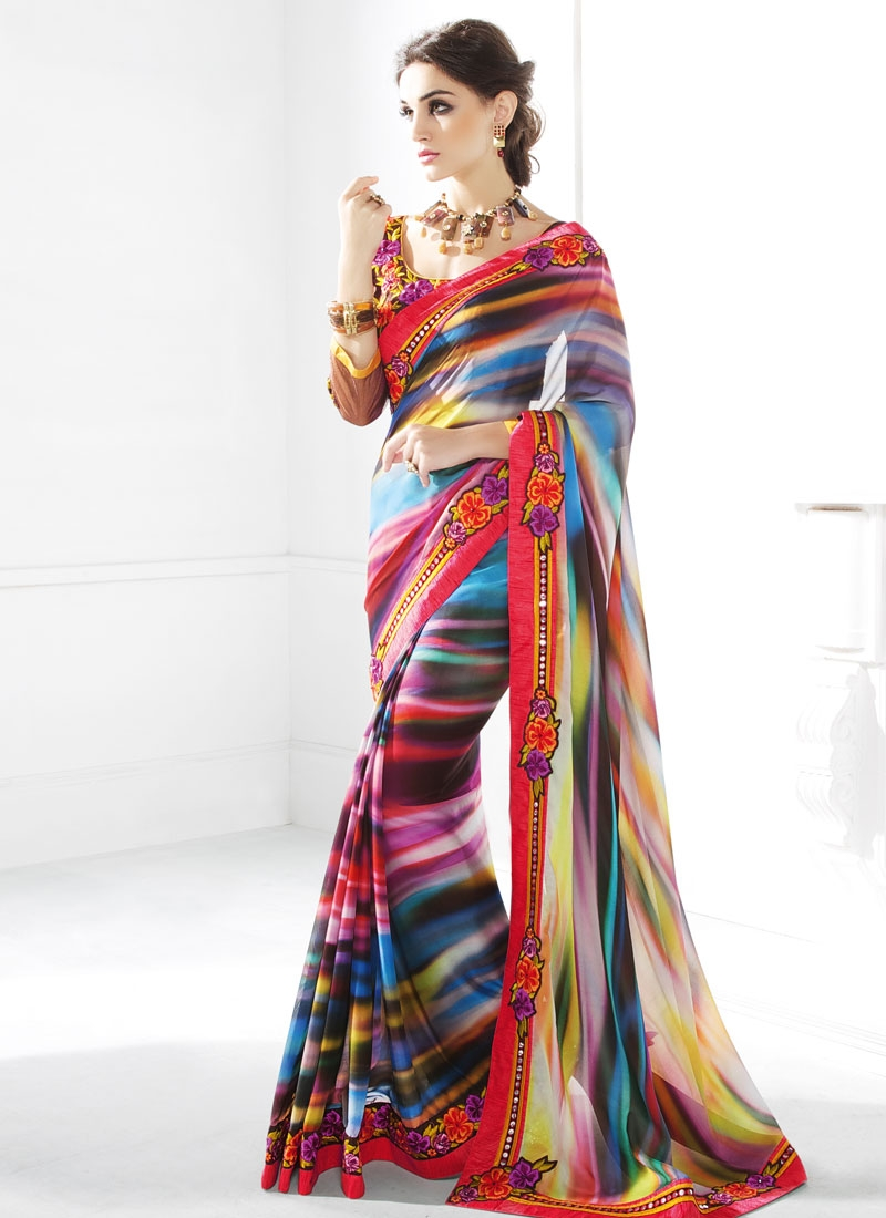 Classy Floral Work Party Wear Saree