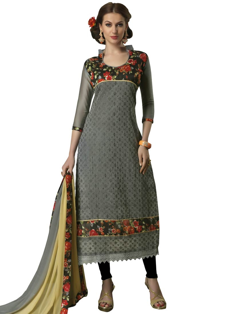 Classy Lace Work Chanderi Cotton Casual Salwar Suit