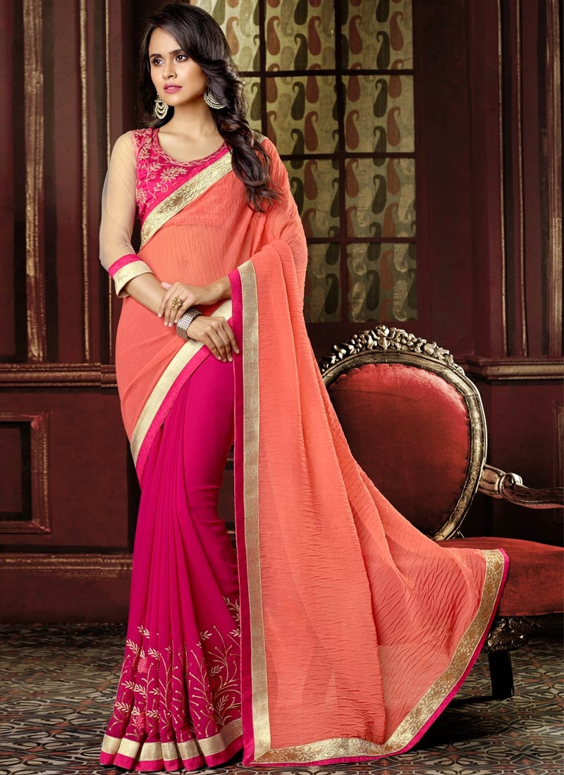 Classy Lace Work Faux Georgette Half N Half Party Wear Saree